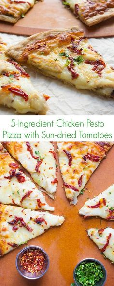 5-Ingredient Chicken Pesto Pizza with Sun-dried Tomatoes Recipe - Lunch and dinner have never been easier with this fast, easy, and healthy comfort food!