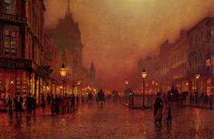 John Atkinson Grimshaw, A Street At Night.