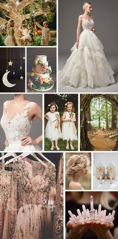 "Magical, enchanting midsummer nights dream wedding inspiration. ""Are you sure that we are awake? It seems to me that yet we sleep, we dream"" This board is all about magic – sparkly lights glinting between the leaves under an enchanting starry sky. Hair is lose and natural, woven with delicate flowers, whilst the addition of some sparkly wands transform flower girls into the perfect fairy maidens."
