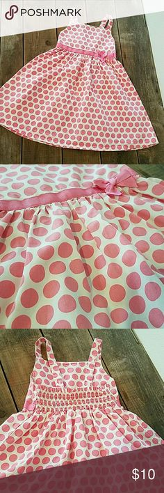 GYMBOREE White w/ pink Polka-dot Dress 100% Cotton white dress with pink polka-dots. Pink bow around the waste and bottom adjustable straps.   Good used condition Gymboree Dresses