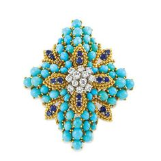 Gold, Turquoise, Sapphire and Diamond Brooch, Tiffany & Co.