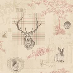 Cranberry Red / Linen - 98010 - Nature - Check - Tartan - Stag - Trees - Calligraphy - K2 - Holden Wallpaper