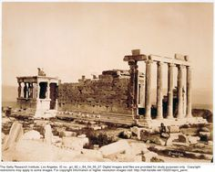 Erechthée, [ca. 1890] Dimitriou, Konstantinos (fl. 1875-1900), photographer. View of the Erechtheion from the southeast.  Gary Edwards collection of photographs of Greece