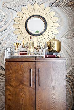 Home Tour: A Stylish, DIY-Filled Family Home// DIY wallpaper, sunburst mirror
