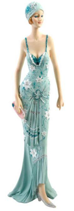Art Deco Broadway Belles Lady Figurine. Blue Teal Color