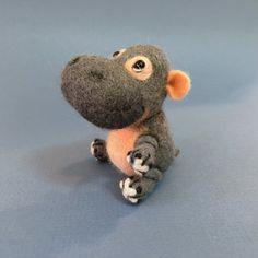Hippo Needle Felted Hippo Created by Marina by GoldenThreadDesign