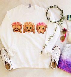 ❤ love this tumblr monkey emoji shirt