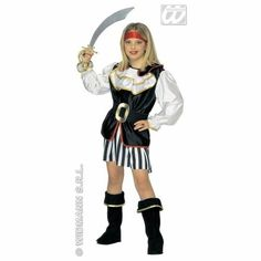 XL Girls Pirate Girl Costume Outfit for Buccaneer Fancy Dress Kids 11-13 158cm