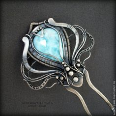 Купить серебряная шпилька с ларимаром Медуза - серебряный, серебряные украшения, серебряная шпилька, шпилька для волос