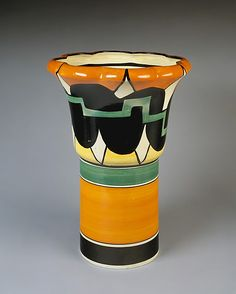 Clarice Cliff vase. (20 January 1899 – 23 October 1972) was an English ceramic artist active from 1922 to 1963. She began as an apprentice potter. By reason of her talent and ability, she became a ceramic artist, becoming the head of the factory artistic department. She also produced strictly artistic ceramics and became popular with the public and royalty alike.