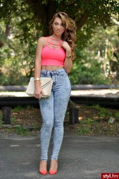 acid wash jeans  ♥ cage top >>>> I just like the high-waist denim jeans, not that top!