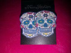 Sugar Skull Earrings 2cm  Stud by PinkysJewellery on Etsy, $5.00