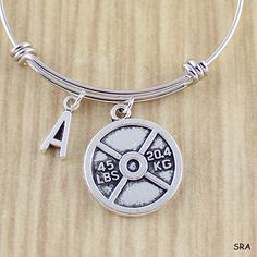 45lb Weight Plate Bangle Bracelet w. Initial  Weightlifting