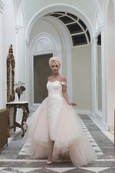 House of Mooshki wedding dress with pencil skirt and detachable tulle train | see more on: http://burnettsboards.com/2014/04/house-mooshki/