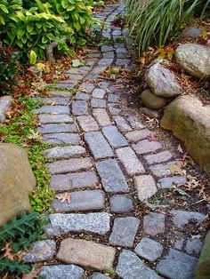 Here is a nice way to recycle and reuse old stones and bricks into an informal pathway.