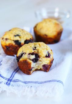 Low in sugar and low fat in fat, these hearty gluten free blueberry corn muffins may be skinny, but they're hearty enough for a good breakfast!