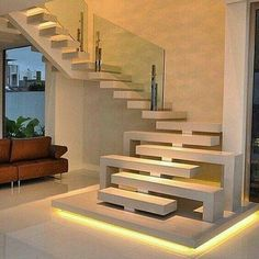 For the interior, the architect tries to create a simple design with a natural atmosphere as much as possible. The wall, stairs, and ceiling are white and decorated with some simple details such as fr Staircase Interior Design, Home Stairs Design, Home Interior Design, Exterior Design, Interior And Exterior, Interior Ideas, Contemporary Stairs, Modern Stairs, Architecture Renovation