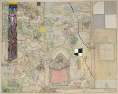Artist: William T. Wiley, American, born 1937 Untitled (Japan)  1982 Colored pencil, acrylic and charcoal on canvas with mixed media 217.17 x 276.86 x 182.88 cm (85 1/2 x 109 x 72 in.) The Twigg-Smith Collection, Gift of Thurston Twigg-Smith, B.E. 1942 2001.148.91a-c