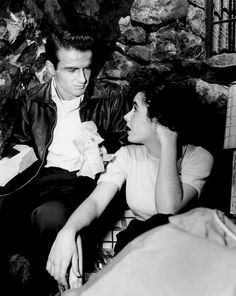 Montgomery Clift and Elizabeth Taylor on the set of A Place in the Sun, c. 1950.