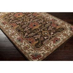 3x5 Arts & Crafts Mission Style William Morris Chocolate Brown Wool Area Rug #ArtsCraftsMissionStyle