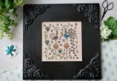 Maxim & Zoya sampler cross stitch pattern by Plum Street Samplers at thecottageneedle.com peacocks hand embroidery by thecottageneedle