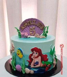 50 Most Beautiful looking Disneys Ariel Cake Design that you can make or get it made on the coming birthday. Little Mermaid Birthday Cake, Little Mermaid Cakes, Little Mermaid Parties, Sirenita Cake, Ariel Cake, Cake Designs Images, Disney Cakes, Party Cakes, Cake Pops