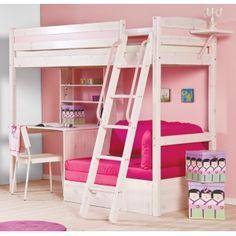 Cherri Whitewash High Sleeper Bed With Desk + Sofa Bed poss for ace