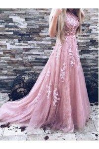 Princess Evening Dresses, Lilac A-line/Princess Evening Dresses, A line Long Evening Dresses, Beautiful Lace Prom Dresses Sweep/Brush Train Prom Dress/Evening Dress WF02G43-996