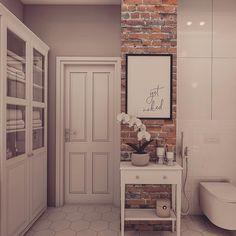 rustykalne Apartment Entrance, Exposed Brick, Double Vanity, Sweet Home, New Homes, House Design, Interior Design, Bathroom, Furniture
