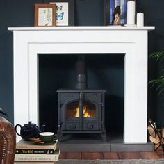 Super Wood Burning Stove Fireplace Fire Surround L White Fire Surround, Wood Stove Surround, Wooden Fireplace Surround, Wood Burner Fireplace, Fireplace Surrounds, Fireplace Design, Fireplace Ideas, Fireplace Stone, Victorian Living Room