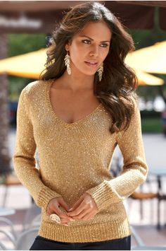 Boston Proper V-neck sparkle sweater