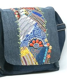 Crazy Quilted Denim Messenger Bag by JillyMamas on Etsy, $135.00