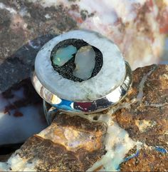 Oddball Opal in Pyrite Ring Size 7.5
