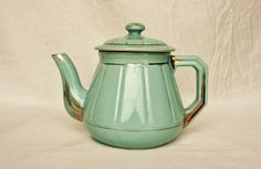 Art Deco teapot turquoise and gold mint blue by FrenchCountryLife, $42.00