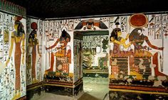 Tomb of Queen Nefertari. Interior of the vestibule within the tomb of Queen Nefertari. At centre is the entrance to a larger room known as the First east side annexe. Nefertari, who lived around BC, was the first wife of the Egyptian pharaoh Ramses II. Ancient Egypt Pharaohs, Ancient Egypt Art, Ancient Civilizations, Ancient History, Egyptians, Luxor, Queen Nefertari, Thinking Day, Egyptian Art