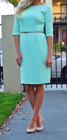 Mint dress made with laser cut fabric.  Great for spring!