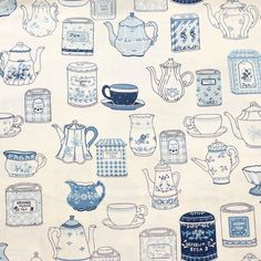 Polly put the kettle on! We'll all have tea  I just love this vintage Yuwa print - the classic blue and white makes me think of cute farmhouse plates and the canisters are all labelled with different flavours - perfect for tea pots like me! What's your favourite tea?