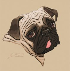 69 Best ideas dogs drawing pug - Tiere - Hund Katze und Co - Custom Dog Portraits, Pet Portraits, Animal Drawings, Art Drawings, Drawing Art, Pug Art, Dog Paintings, Pug Love, Dog Pictures