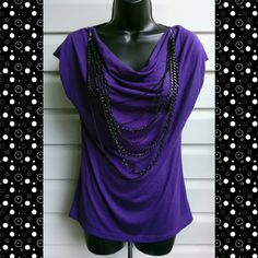 MILEY CYRUS TOP Miley Cyrus Purple Top with Attachable Necklace Miley Cyrus Tops