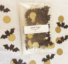 Check out Bat confetti-Halloween-party confetti- black bats- 100pc- gold circles- black and gold- Halloween party- ready to ship- birthday confetti on toribelledesignss