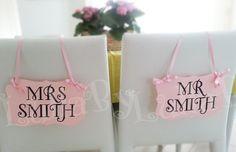 Mr. and Mrs. chair signs, adorable blush pink wedding décor. #LullaByPartyShop  #blush #WeddingStuff Blog at www.creativeweddingstuff.com