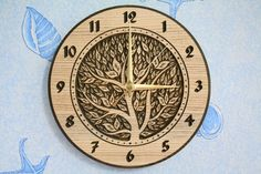 Wood carved wall clock Tree