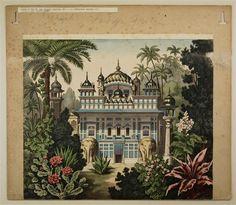 Indischer Garten - Hintergrund Nr. 290. / Orientalischer Palast - Hintergrund Nr. 286