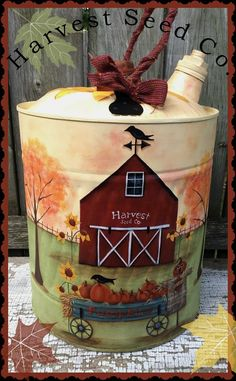 Harvest Seed Co. is a digital pattern and not the finished item. You will receive complete instructi Tole Painting Patterns, Wood Patterns, Tole Decorative Paintings, Henna Patterns, Fall Crafts, Diy And Crafts, Painted Milk Cans, Americana Paint, Primitive Painting