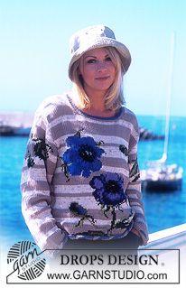 DROPS Rose sweater in 4 yarn types ~ DROPS Design