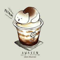 kawaii and cute stuff kawaii Cute Kawaii Drawings, Kawaii Doodles, Cute Animal Drawings, Funny Doodles, Chat Kawaii, Kawaii Cat, Art Et Illustration, Food Illustrations, Cute Food Art