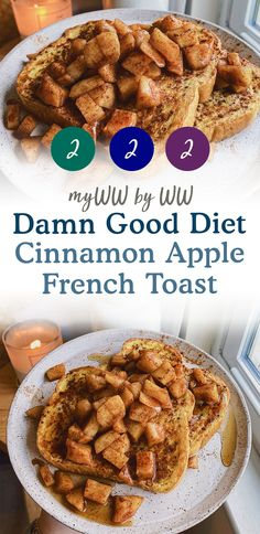 The BEST Cinnamon Apple French toast! This comforting and sweet breakfast is low carb, friendly and packed full of flavor. Weight Watchers Meal Plans, Weight Watchers Breakfast, Weight Watchers Desserts, Apple French Toast, Cinnamon French Toast, Cinnamon Apples, Weightwatchers Recipes, Ww Desserts, Ww Recipes