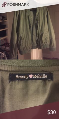Brandy Melville green bomber Too small on me! Super cute & never goes on sale. Worn once. Could fit small or medium Brandy Melville Jackets & Coats