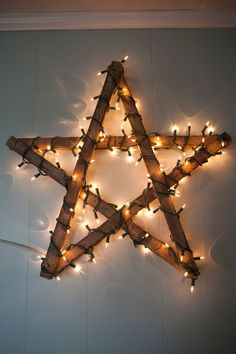 Hand Made Rustic Wooden Star with Lights by CoastalCreationsNJ