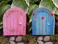 Wooden fairy doors.